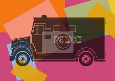 La furgoneta de policía, dibujo del arte pop
