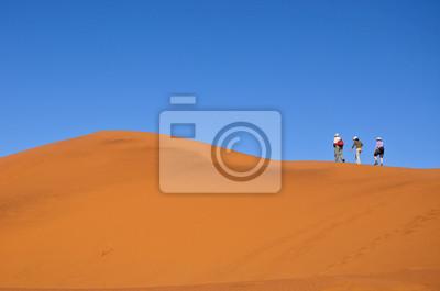 La gente que camina en las dunas del desierto de Namib, senderismo en Sudáfrica