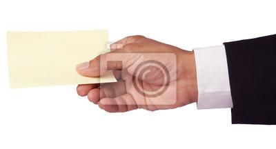 la mano de la tarjeta de hombre de negocios y de papel aislado en blanco