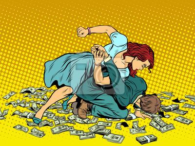 La mujer late al hombre en lucha por el dinero