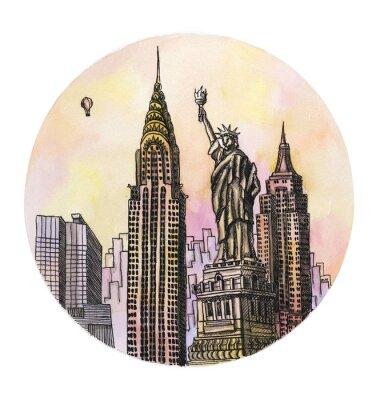 Póster La Nueva York con el dibujo de la mano de la acuarela del monumento de la libertad, el buillding arhitectural del famouse aislado en el fondo blanco.