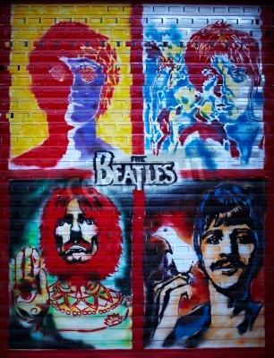 Póster La pared de graffiti Beatles en Moscú, calle Stroitelei
