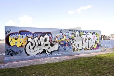Póster La pared de graffiti en Amsterdam los Países Bajos