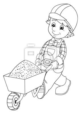 La Placa Para Colorear Trabajador De La Construcción