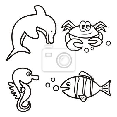 La vida marina - libro para colorear carteles para la pared ...