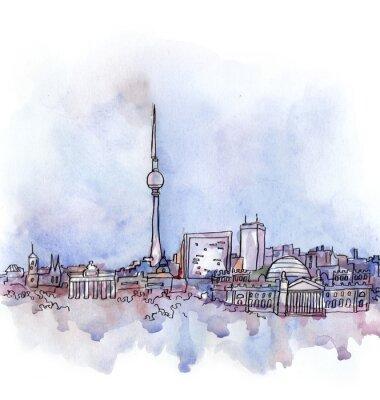 Póster La vista de Berlín acuarela de la unión europea país aislado en el fondo blanco