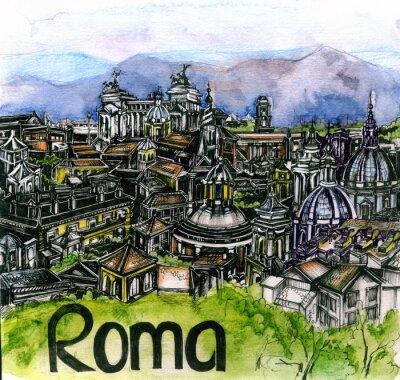 Póster La vista panorámica de Roma acuarela de la unión europea
