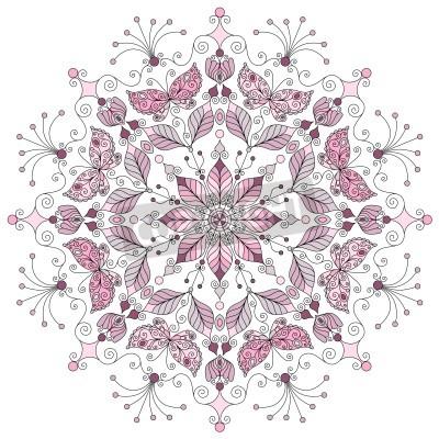 Póster Lacy pastel redondo patrón de la vendimia en el vector