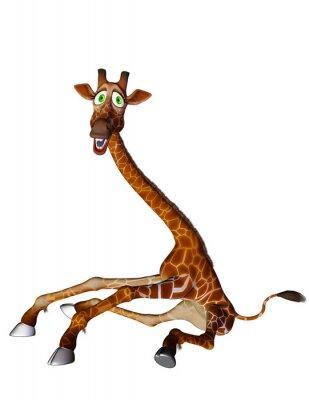 Póster lado las piernas abiertas historieta de la jirafa
