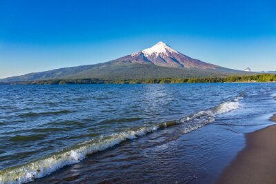 Lake, mountains and volcano beautiful landscape, Chile, Patagonia, South America