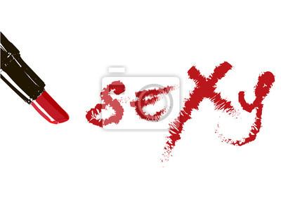 Póster Lápiz labial de la inscripción Sexy. Inscripción roja lápiz labial escrito Sexy