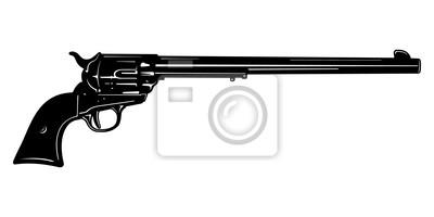 Larga blanco y negro cañón de la pistola