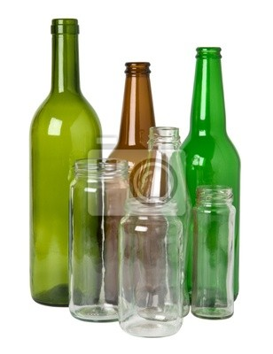 Las botellas de vidrio preparado para el reciclaje carteles para la