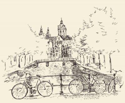 Póster Las calles en la ciudad de Amsterdam, ilustración vectorial