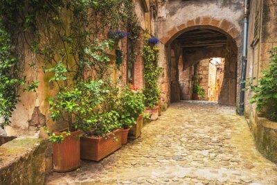 Póster Las esquinas de las ciudades medievales de la Toscana en Italia