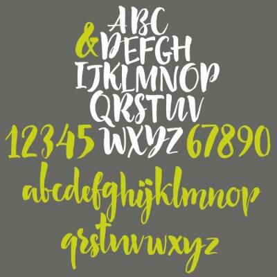Póster Las letras del alfabeto: minúsculas, mayúsculas y números.