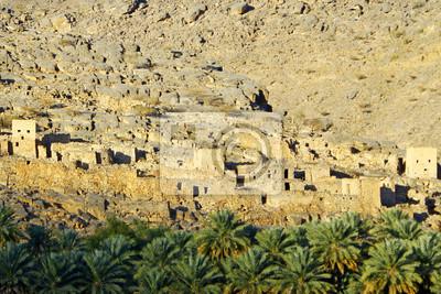 Las ruinas de los edificios antiguos de la marisma en Omán