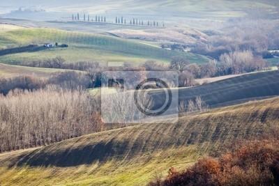 Las tierras agrícolas en Val d'Orcia, Toscana (Italia).