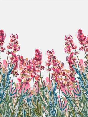 Póster lavender vecor background pink flower card colorful