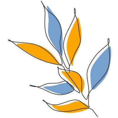 Póster Leaf one line drawing. Minimalism leaves of tree botanical. Vector artwork nature theme.