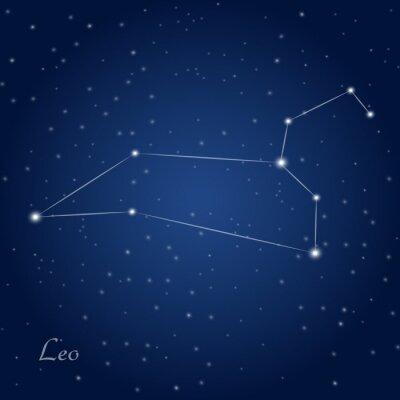 Póster Leo signo del zodiaco constelación en el cielo nocturno estrellado