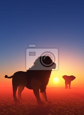León y elefante