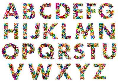 Póster Letras del alfabeto en mayúsculas coloridas