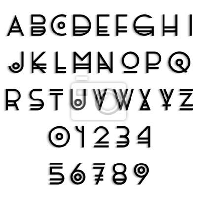 Letras del alfabeto y los nmeros con estilo con la sombra
