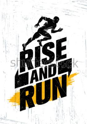Póster Levántate y corre. Concepto del cartel de la cita de la motivación del acontecimiento deportivo del maratón. Ilustración de tipografía de estilo de vida activa sobre fondo Grunge con textura