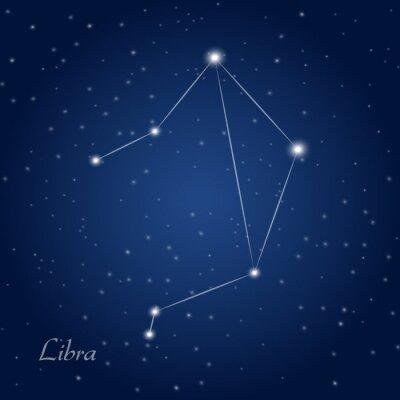 Póster Libra signo del zodiaco constelación en el cielo nocturno estrellado
