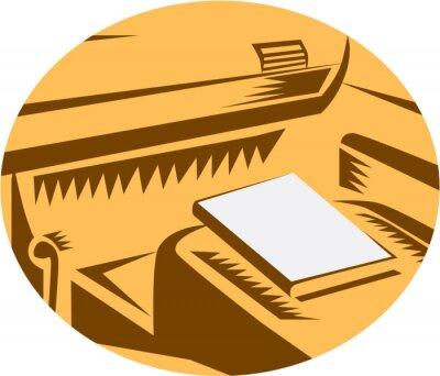 Libro en el punto de vista del conductor del asiento de coche Circle Woodcut