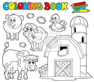 Libro para colorear con animales de granja 1 carteles para la pared ...