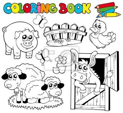 Libro para colorear con animales de granja 2 carteles para la pared ...
