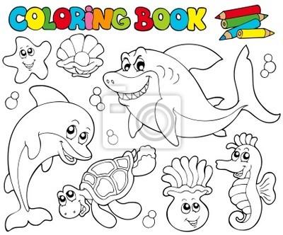 Libro Para Colorear Con Animales Marinos 2 Carteles Para La Pared