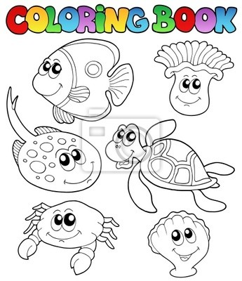 Libro para colorear con animales marinos 3 carteles para la pared ...