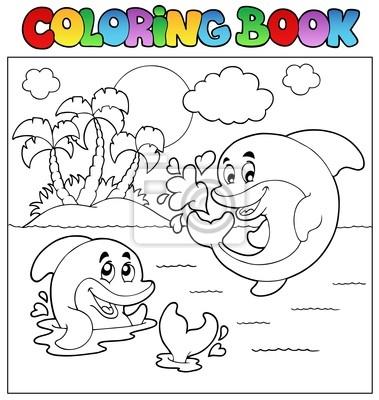 Libro para colorear con delfines 2 carteles para la pared • pósters ...