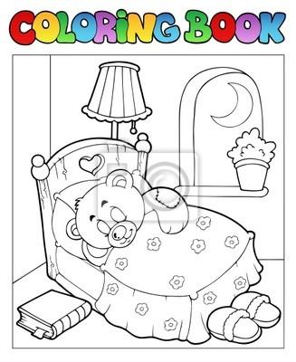Libro para colorear con el oso de peluche 1 carteles para la pared ...