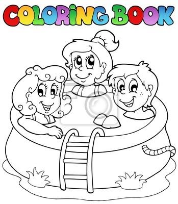 Libro para colorear con los niños en la piscina carteles para la ...