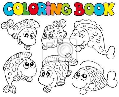 Póster Libro para colorear con peces locos