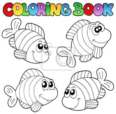 Libro para colorear con rayas peces carteles para la pared • pósters ...