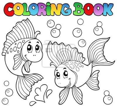 Libro para colorear dos peces de colores lindos carteles para la