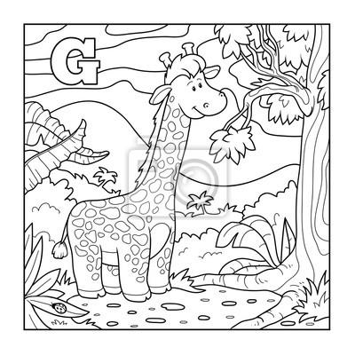 Libro para colorear (jirafa), alfabeto incoloro para los niños ...