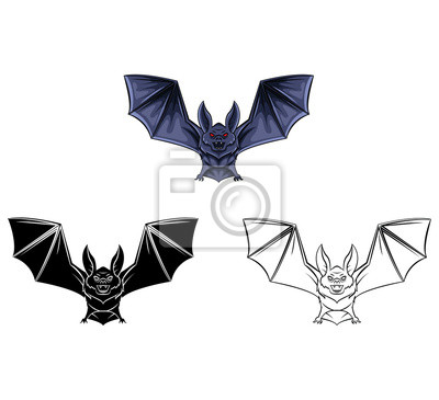 Libro Para Colorear Murciélago Tatuaje Personaje De Dibujos Animados