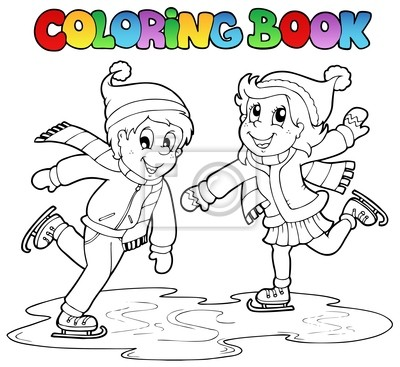 Libro para colorear niño de patinaje y una niña carteles para la ...