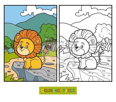 Póster Libro para colorear para niños. Pequeño León en África