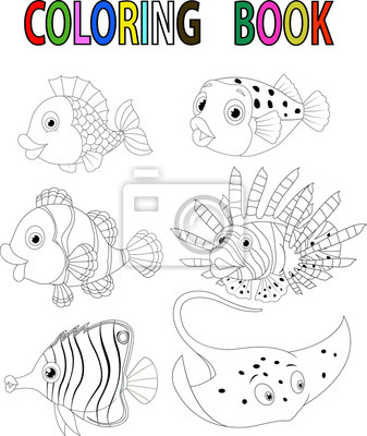 Libro Para Colorear Peces De Dibujos Animados Carteles Para La Pared