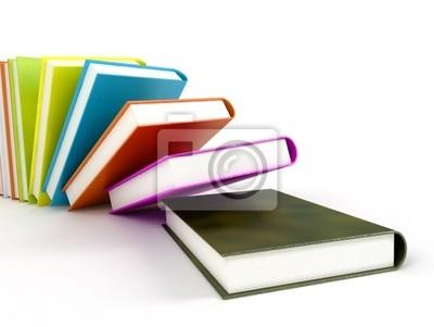 Libros de colores aislados en blanco brillante # 2 carteles para la ...
