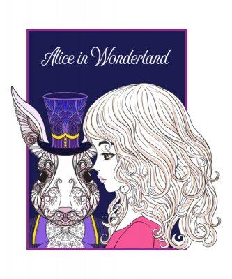 Póster Liebre o conejo en el sombrero del cuento de hadas Alice in Wonderla