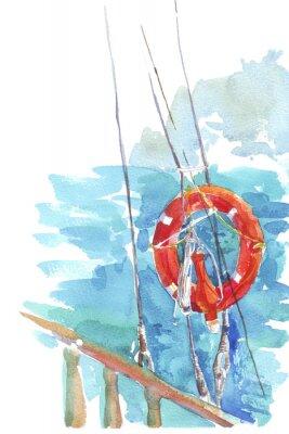 Póster Lifebuoy océano mar acuarela ilustración