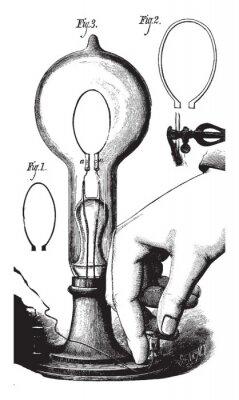 Póster Lightbulb, vintage illustration